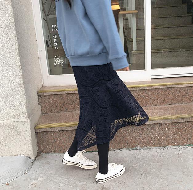 12韩国代购正品 冬cherrykoko官网特 蓝色蕾丝半身裙长裙