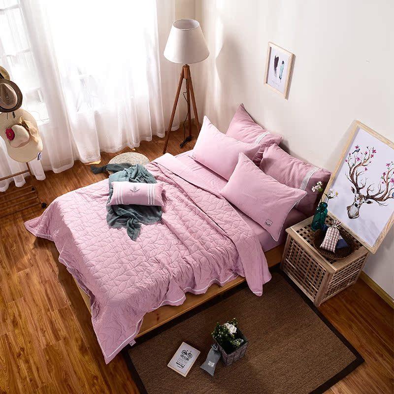 日式双层纱四件套全棉素色裸睡床品床单式纯棉被套夹棉1.5m1.8米1元优惠券