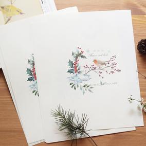 旧时光  复古花鸟欧式古典创意A4可打印个性唯美信纸信笺