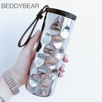 韩国杯具熊保温杯正品男女士商务曲镜波浪水杯不锈钢情侣时尚杯子