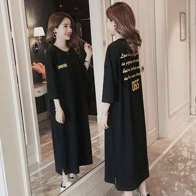 大码宽松显瘦长款短袖黑色长裙女连衣裙后背字母印花过膝纯棉睡裙