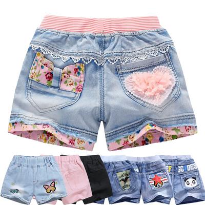 女童牛仔短裤夏季2018新款韩版时尚男童儿童中大童夏装纯棉薄款潮