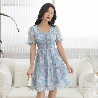 大码女装2019新款夏胖妹妹超仙裙子胖mm显瘦遮肚胖女人连衣裙减龄