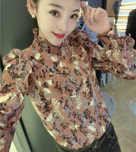 Spring women's Chiffon long-sleeved high-necked lace bottomed shirt with broken flowers, small dress, super-immortal fashion jacket 2019