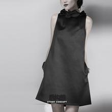 后构想原创2016秋季新品修身显瘦a字短裙气质优雅黑色无袖连衣裙