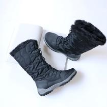 户外高帮雪地靴女冬季大码休闲睁高棉靴防水防滑运动旅游加绒棉鞋