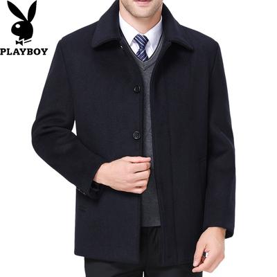 正品花花公子羊绒大衣男士中老年短款呢子外套冬季加绒加厚父亲装