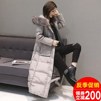 冬季大毛领过膝羽绒服女时尚潮超长款2018新款女款韩版加厚外套女