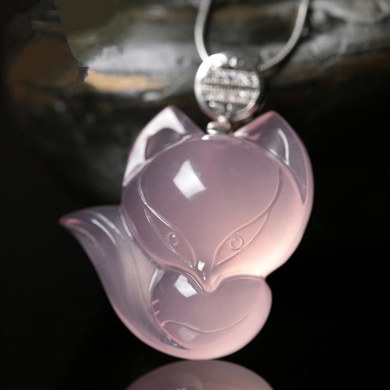 天然粉水晶粉色狐狸吊坠送女生日礼物招财招桃花旺姻缘防小三项链