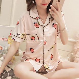 睡衣女夏短袖棉质可爱卡通草莓开衫套装夏天可外穿薄款全棉家居服