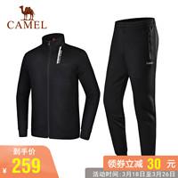 2019新品骆驼运动服套装男女长袖立领情侣拉链运动健身两件套