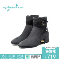 【冬靴清仓】蹀愫tigrisso秋冬新款中跟方头短靴女TA87700-14
