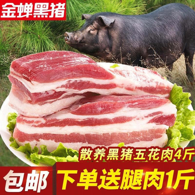 壹号餐桌金蝉黑猪肉野猪肉4斤五花肉农家散养原生态大别山土猪肉