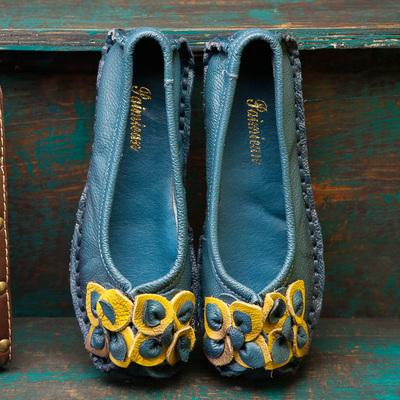 原创手工真皮女鞋休闲平跟个性复古单鞋头层牛皮方头平底鞋豆豆鞋