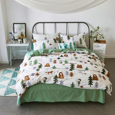 纯棉儿童1.5米/1.2米床单床笠四件套 全棉单人双人小清新被套绿色