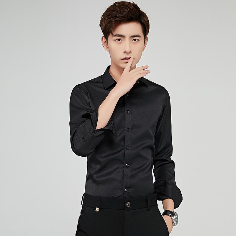 纯色衬衫男士长袖春季2019新款韩版时尚修身商务时尚休闲免烫衬衣