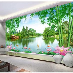 3D立体电视墙背景墙壁纸客厅无缝影视壁画竹子风景墙纸5D家和墙布