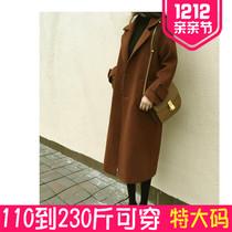 2017秋冬新款大码女装毛呢外套中长款胖mm200斤宽松过膝呢子大衣