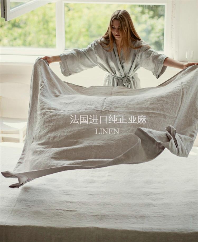 欧美风亚麻床单单件100%纯色亚麻夏季凉感1.5m1.8米双人麻布被单