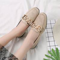2018 spring new British wind wild grandmother shoes square head single shoes female one pedal flat lazy peas shoes summer