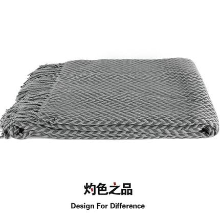 软装针织棉搭巾毯简约现代样板房装饰盖毯床尾巾床尾垫灰色床毯