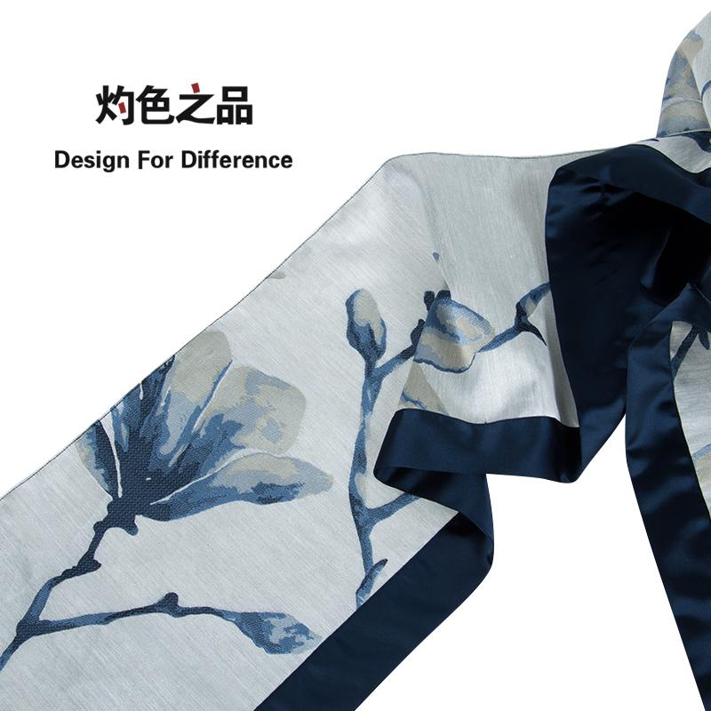 原创简约现代古典中国风中式蓝色提花别墅软装餐桌旗床旗床尾巾