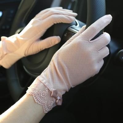 夏天短款冰丝蕾丝开车防滑遮阳防晒手套女薄夏季防紫外线超薄透气