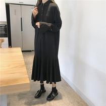 秋装新款韩版宽松chic气质鱼尾长款纯色简约衬衫裙连衣裙打底长裙