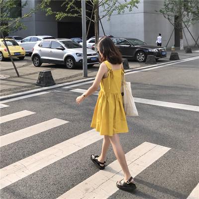夏季新款韩版甜美小香风高腰娃娃吊带裙连衣裙打底裙长裙女装裙子
