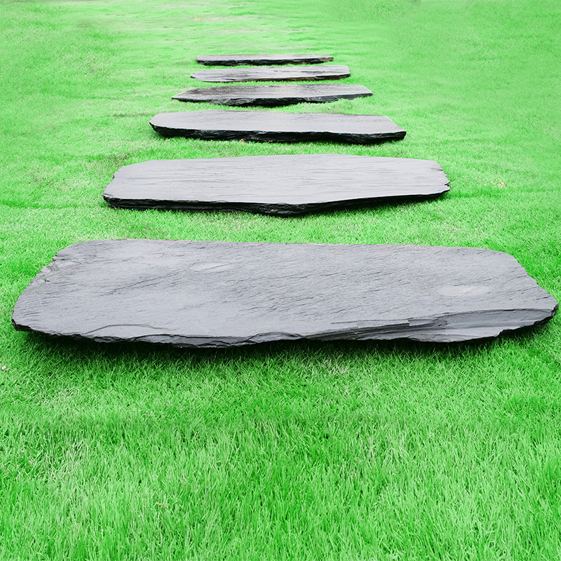 天然青石板庭院地砖户外汀步石别墅花园走廊铺路石草坪垫脚石防滑