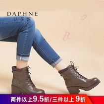 达芙妮冬季舒适休闲女圆头粗跟系带英伦马丁靴1515605032Daphne
