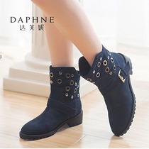 达芙妮冬季女靴低跟圆头舒适套筒短靴冬款头层牛皮女靴Daphne