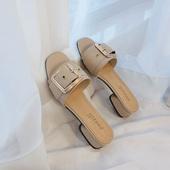 拖鞋女2019夏季新款时尚外穿一字粗跟半拖百搭韩版学生复古凉拖潮