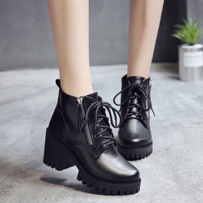 2018秋季新款高跟粗跟复古韩版百搭女鞋短靴马丁靴裸靴英伦女靴子