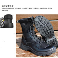 Summer men and women outdoor breathable mesh ultra light leather combat boots mountaineering boots security boots training boots