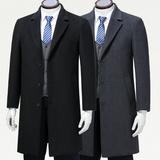 高档商务休闲羊绒大衣风衣男 英伦长款西装领男士毛呢大衣爸爸装