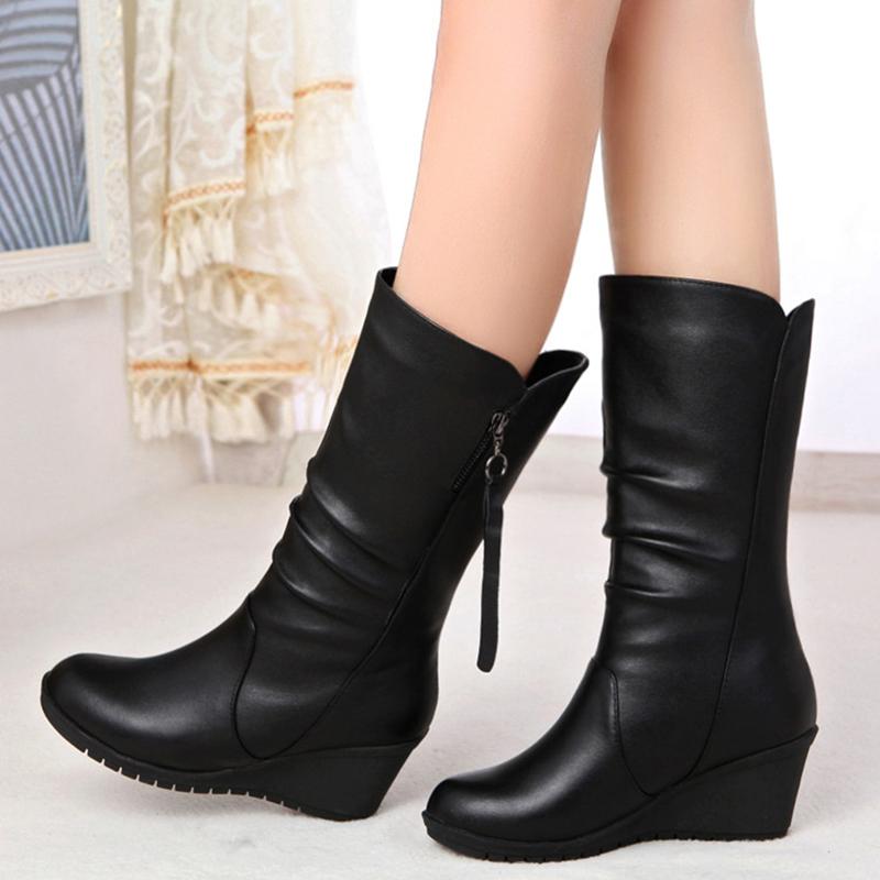 2018冬新款澳州百丽圆头中筒靴女短靴女鞋欧美高跟坡跟女靴雪地靴
