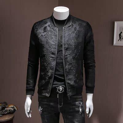 夹克男款立领花朵刺绣暗花修身男装上衣2018秋装新品青年流行外套
