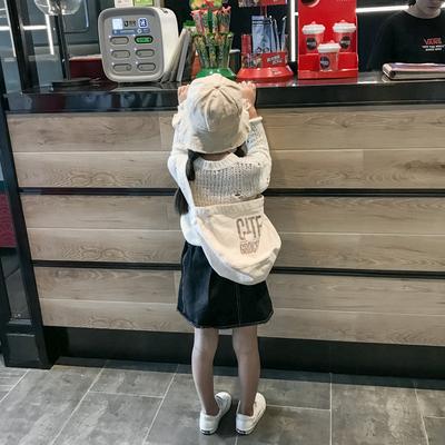 新款韩版儿童布包男女童单肩斜跨简约字母造型包ins宝宝出游 小包