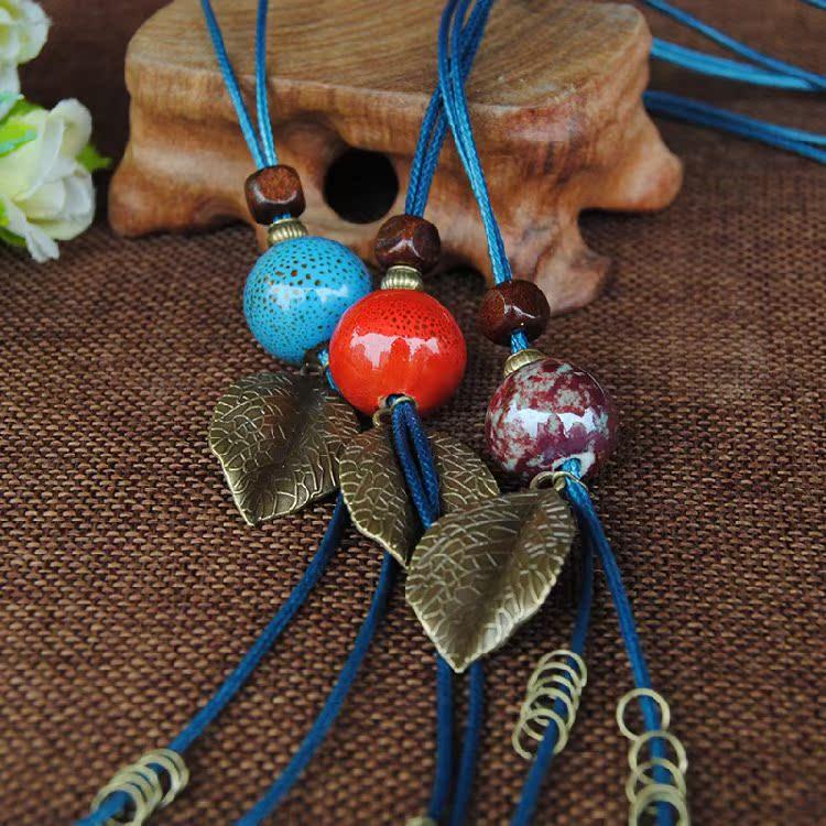 以原创手工陶瓷饰品长款毛衣链民族风女换带配饰夏挂饰约一米项链