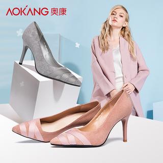 奥康女鞋尖头英伦优雅潮流单鞋套脚女高跟鞋细跟