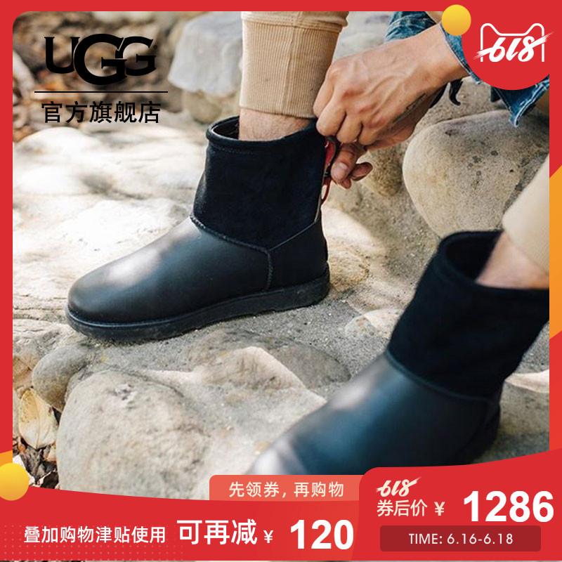 UGG 冬季新款男士雪地靴经典奢华系列防水款搭扣短靴 1017229
