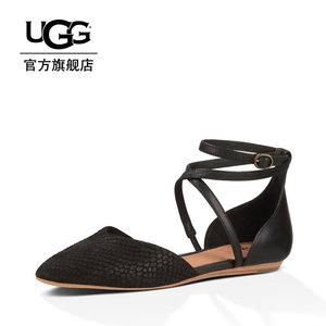 UGG 春夏女士单鞋简约通勤平底尖头绑带罗马鞋透气款 1007163