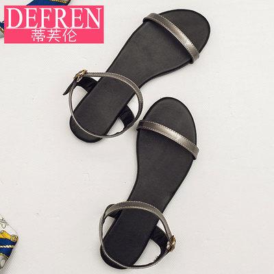 凉鞋女夏季平底一字带黑色大码平跟露趾罗马简约韩版软底女鞋