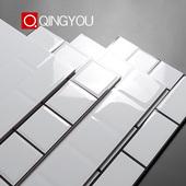 小方白砖厨卫砖北欧卫生间厨房墙砖300x600白色格子砖面包砖瓷砖图片