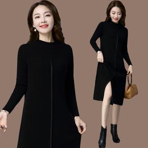 黑色中长款过膝毛衣女羊绒羊毛衫韩版加厚秋冬开衩针织打底连衣裙