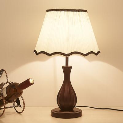 台灯卧室床头 现代中式实木复古美式遥控调光led结婚房装饰台灯