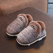 Children's cotton shoes, male children, two-color beef tendon, non-slip, two cotton shoes, boys, 2018, new winter, plus velvet home shoes