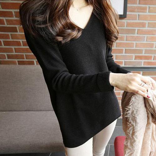 现货韩国官网女装2018秋冬纯色v领中长款套头针织衫毛衣kn33296