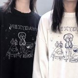 WHOOP SHOP NEXTDAWN cartoon destruction sweater tide card hip hop street dance men and women couples long sleeves